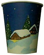 1500 Glühweinbecher 0,2l 200ml mit Eichstrich aus Hartpapier Pappe umweltfreundlich Weihnachten Weihnachtsmotiv für Punsch Glühwein Feuerzangenbowle Tee Kaffee Heißgetränkebecher Einweg Glühwein to go