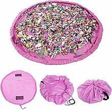 150cm Rosa Kinder Spielmatte faltbar & tragbar Spielzeug Speicher Beutel Teppich Spielzeug Organizer