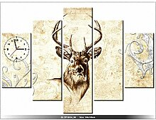150x105cm - Leinwandbild mit Wanduhr - Moderne Dekoration - Holzrahmen - Kopf-Hirsch, geweih-Hirsch, Horn, Hörner, geweih -