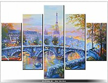 150x105cm - Leinwandbild mit Wanduhr - Moderne Dekoration - Holzrahmen - Paris, Brücke, walk-in-Paris, Stadt, Turm, Turm-Paris,