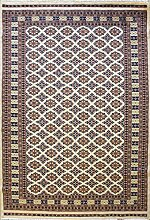 152x249 Bokhara Jaldar Area Rug with Silk & Wool Pile - Geometric Design | 100% Original Hand-Knotted in White,Orange,Black colors | a 152 x 244 Rectangular Rug