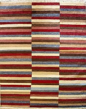 155x211 Gabbeh Area Rug with Wool Pile - Gabbeh Design | 100% Original Hand-Knotted Multicolored | a 152 x 244 Rectangular Rug