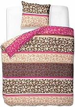 155x220 cm Bettwäsche mit 1 Kissenbezug 80x80 Bettbezüge Bettbezug Bettwäsche-Set 100% Baumwolle Öko-Tex Standard 100 Blumenmotiv Blumen Blumenmuster 60 Grad waschbar Diamond Besos bunt rosa beige creme braun