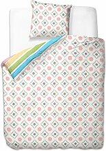 155x220 cm Bettwäsche mit 1 Kissenbezug 80x80 Bettbezüge Bettbezug Bettwäsche-Set 100% Baumwolle Öko-Tex Standard 100 geometrisches Muster 60 Grad waschbar Diamond Carreau bunt blau gelb rosa grün braun rot grau weiß
