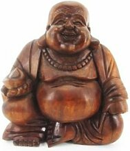15cm Happy Buddha Sitzend Holz Geschnitzt Bal