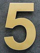 15cm Hausnummer 0 aus Edelstahl. Large Messing