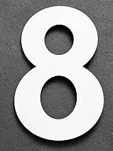 15cm Hausnummer 8 aus Edelstahl. Large Signalweiß