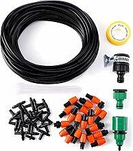 15M Micro Drip Bewaesserungssystem Troepfchen Terrasse Garten Wasserschlauch Sprinkler Gewaechshaus T-Stueck Verbinder