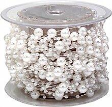 15m Perlenband Weiß Band Perlen Tischdeko Kommunion Konfirmation Hochzei