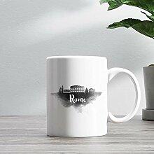 15oz Ceramic Coffee Mug, Rome Skyline Coffee Mug,