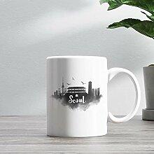 15oz Ceramic Coffee Mug, Seoul Skyline Coffee Mug,