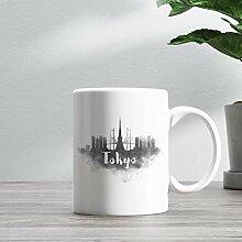 15oz Ceramic Coffee Mug, Tokyo Skyline Coffee Mug,