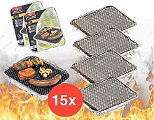 15x Einweggrill Einmalgrill Campinggrill Holzgrill Grill aus Aluminium zu Grillen Aluschale mit Kohle Holzkohle Picknickgrill Holzkohlegrill Grillkohle