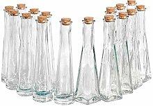 16 Flaschen aus Glas Dekoglas rund und eckig