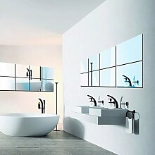 16 pcs Fliesen Selbstklebend Spiegel Wand Aufkleber Quadrat Aufkleber Dekoration 15 x 15 cm