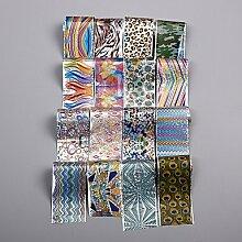 16 Stück Bunte Linien Geometrische Muster Superqualität Nagel Aufkleber Himmel Papier