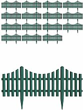 16 Stück Gartenzaun Zierzaun Beeteinfassung Beetabgrenzung Lattenzaun Dekozaun Kunststoffzaun Grün 60,5x33cm Beetumrandung Zaun