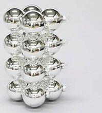 16 Stück Weihnachtskugeln 8cm 80mm Glas (Silber