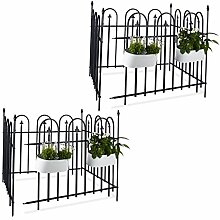16 teiliges Gartenzaun Set GOTH, Metallzaun 9,6 m, Komplettset mit 8 Zaunelementen und Pfosten, Schmiedezaun