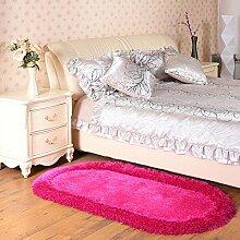 160 * 230cm dicke Foyer Matten, Stretch Seide Matten, Wohnzimmer Kaffee Bett Schlafzimmer Bett Matten ( Farbe : Rose red )