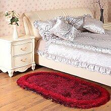 160 * 230cm dicke Foyer Matten, Stretch Seide Matten, Wohnzimmer Kaffee Bett Schlafzimmer Bett Matten ( Farbe : Schwarz und Rot )