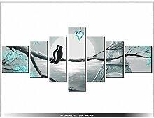 160x70cm - Leinwandbild mit Wanduhr - Moderne Dekoration - Holzrahmen - Romantische Sonnenaufgang in Paris, im Schatten Türkis