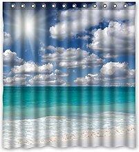 167cm X183cm (167,6x 182,9cm) Badezimmer Dusche Vorhang, Strand im Sommer, Raum Wasser Verdunklungsvorhänge., Polyester, G, 168 x 183 cm