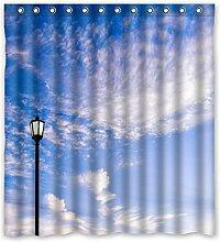 167cm X183cm (167,6x 182,9cm) Badezimmer Dusche Vorhang, Strand im Sommer, Raum Wasser Verdunklungsvorhänge., Polyester, F, 168 x 183 cm