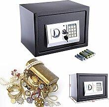 16L Safe Tresor Elektronisch Minitresor mit digitalem Zahlenschloss mit 4x Batterien