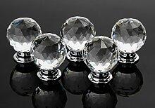 16x 30mm Klar Kristall Glas Möbelknöpfe Möbelgriff Möbelknauf Schublade Griff