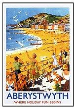 17 Aberystwyth-Eisenbahn Seaside Classic Oldschool Best Color für A3 Bilderrahmen, Vintage-Poster
