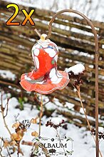 17 cm gross Gartenkugel Massivglas ROBUST, Tulpe Tropfen, Blume mit Hakenhalter Schäferstab FROSTSICHER & MASSIV Glas-Dekoration Blüte Gartentulpe Glocke Sonnenfänger für Lichteffekte im Garten, Rosenkugel in Tulpenform und rot-weiß farblichem Design mit hübschem Blumenmuster, 125 cm mit Metallstab Sonnenfänger für Lichteffekte im Garten, Rosenkugel Gartenkugeln, Gartendeko FROSTSICHER, lichtbeständig und WINTERFEST, Rosenkugeln Winter Glas Deko Garten Schäferstab Metallstiel Bogenstab