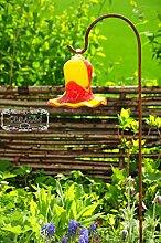 17 cm gross Gartenkugel Massivglas ROBUST, Tulpe Tropfen, Blume mit Hakenhalter Schäferstab FROSTSICHER & MASSIV Glas-Dekoration Blüte Gartentulpe Glocke Sonnenfänger für Lichteffekte im Garten, Rosenkugel in Tulpenform und in rot-gelb farblichem Design, 125 cm mit Metallstab Sonnenfänger für Lichteffekte im Garten, Rosenkugel Gartenkugeln, Gartendeko FROSTSICHER, lichtbeständig und WINTERFEST, Rosenkugeln Winter Glas Deko Garten Schäferstab Metallstiel Bogenstab