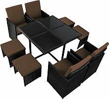 17-teilige Luxus Rattan Sitzgruppe BELLINI mit 4 Stühlen, 4 Hockern und 1 Tisch Lounge Set Poly-Rattan inkl. Auflagen und Bezüge Gartenmöbel Gartenset Sitzgarnitur Rattanmöbel große Farbauswahl, Farbe:Titan-Schwarz / Zigarrenbraun