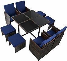 17-teilige Luxus Rattan Sitzgruppe BELLINI mit 4 Stühlen, 4 Hockern und 1 Tisch Lounge Set Poly-Rattan inkl. Auflagen und Bezüge Gartenmöbel Gartenset Sitzgarnitur Rattanmöbel große Farbauswahl, Farbe:Schwarz-Braun meliert / Nachthimmelblau