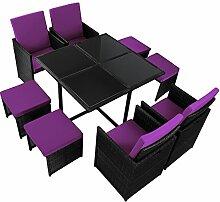 17-teilige Luxus Rattan Sitzgruppe BELLINI mit 4 Stühlen, 4 Hockern und 1 Tisch Lounge Set Poly-Rattan inkl. Auflagen und Bezüge Gartenmöbel Gartenset Sitzgarnitur Rattanmöbel große Farbauswahl, Farbe:Titan-Schwarz / Feigenviole