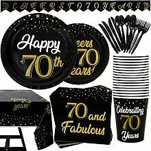 177-teiliges Party-Set zum 70. Geburtstag, Teller,