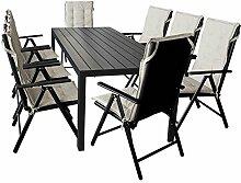 17tlg. Gartengarnitur Gartentisch, Polywood Tischplatte, 205x90cm + 8x Hochlehner, Textilenbespannung, 7 Positionen, klappbar + 8x Stuhlauflage, beige Sitzgruppe Gartenmöbel Terrassenmöbel Set Sitzgarnitur