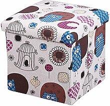 17years Cartoon Baumwolle Leinen Cube faltbarer Hocker Aufbewahrungsbox Container Fußhocker Cover, Baumwoll-Leinen, 6#, Einheitsgröße