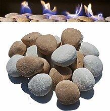 18Gas Fire Ersatz Keramik Pebbles Weiß & Beige