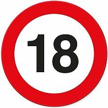 18. Geburtstag Schild - Verkehrsschild (20 x 20 cm), Geschenk zum 18. Geburtstag bester Freund - beste Freundin, Geschenkidee Geburtstagsgeschenk zur Volljährigkeit, Geschenk 18er Geburtstagsparty
