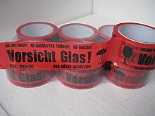 18 Rollen Klebeband Vorsicht Glas 66 lfm lang!