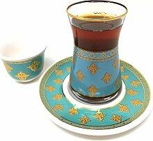 18-teiliges handgefertigtes türkisches Teegläser