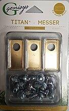 18 Titan Ersatz-Messer Klingen & 18 Schrauben für