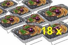 18 x Komplettset Einweggrill Edelstahl Grill Holzkohlegrill Klappgrill Gartengrill Picknickgrill MIT HOLZKOHLE - SCHNELL UND SICHER GRILLEN - Faltgrill