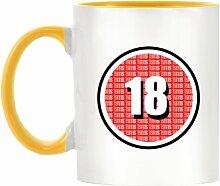 18Zertifikat Design bicolor Becher mit Henkel Gelb & Innen