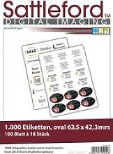 1800 Etiketten oval 63,5x42,3 mm für Laser/Inkjet