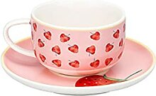 180Ml Rosa Keramik Obst Muster Kaffeetasse Set