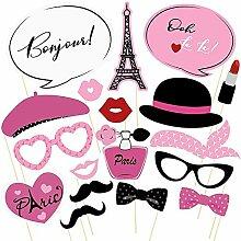 18pcs Paris Photo Booth Props Französisch Ooh La