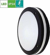 18W LED Aussenleuchte Schwarz, Rund